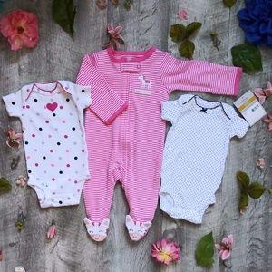 *2/$12*NWT Baby Pink Zebra 3 Piece Bundle Newborn